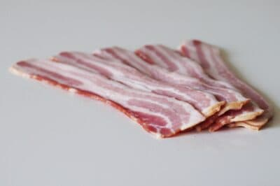 raw bacon strips before preparing for toddlers