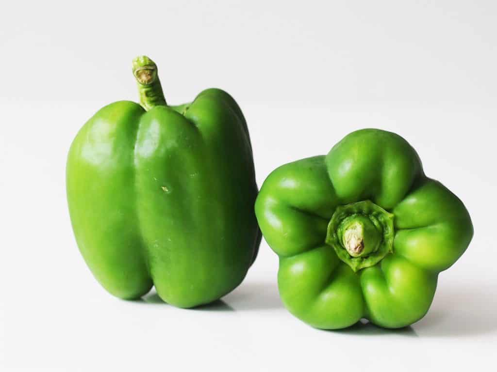 2 green bell peppers before being prepared for babies starting solid food