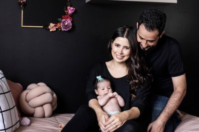 Chef Bruna Chaves with her family in their nursery