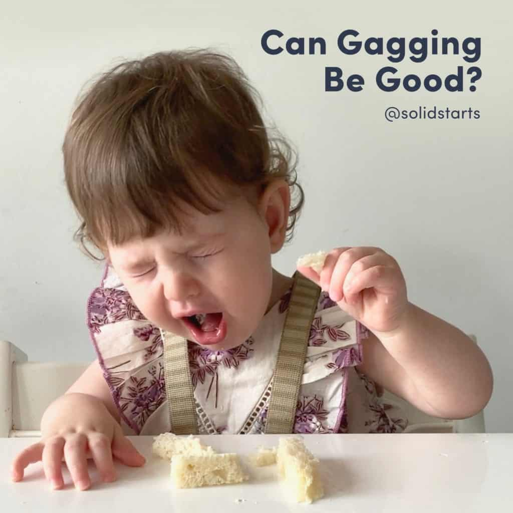 Can gagging be good? A look at the gag reflex of babies. Picture of a baby gagging on bread,