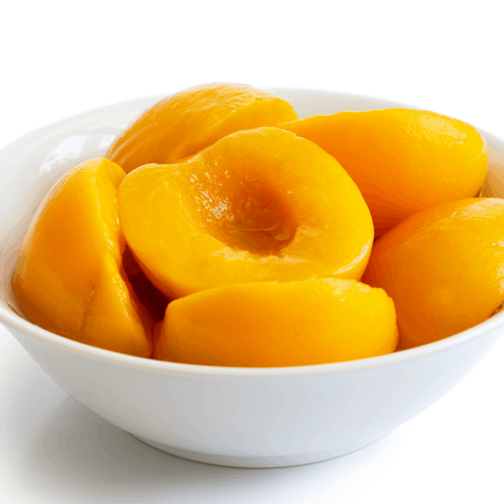 a bowl of canned peaches before being prepared for babies starting solids