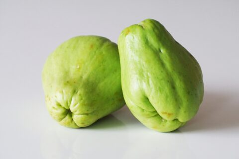 2 chayote squash before being prepared for babies starting solids