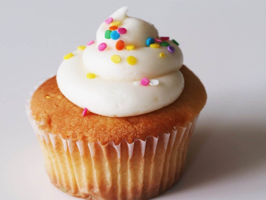 A white cupcake with vanilla frosting and rainbow sprinkles