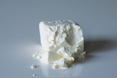 a block of feta cheese before being prepared for babies starting solid food