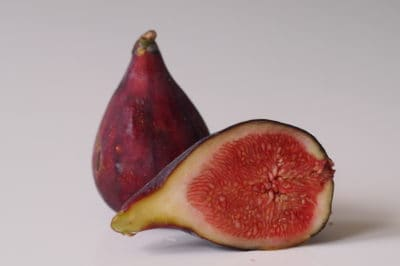 A fig sliced in half before being prepared for babies starting solid food
