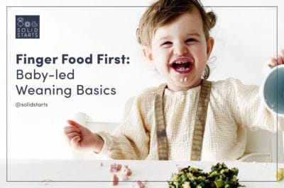 A webinar promotion image of a baby laughing and the words Finger Food First: Baby-led Weaning Basics (webinar)