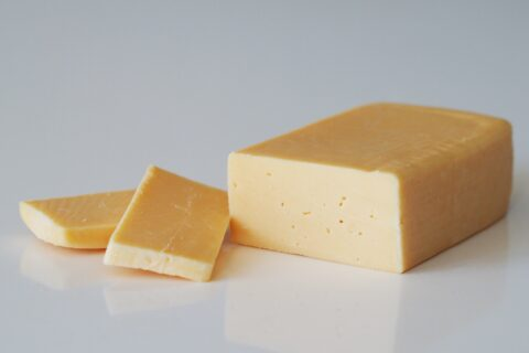 a blog of havarti cheese and two slices before being prepared for babies starting solid food