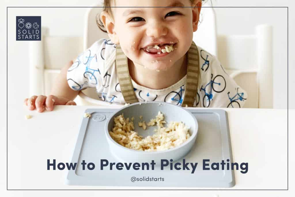 a webinar promotion image with a smiling baby and the words How to Prevent Picky Eating