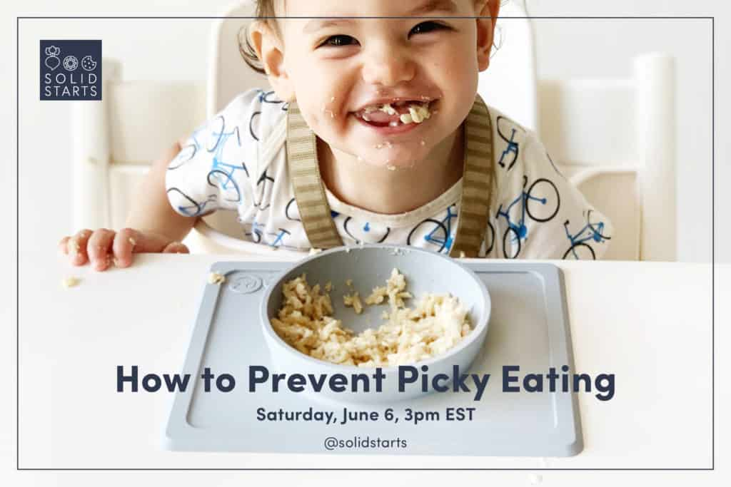 Solid Starts webinar image with a happy baby and words How to Prevent Picky Eating