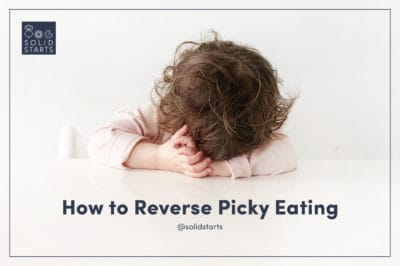 a webinar promotion of a baby with their head on the table and the words How to Reverse Picky Eating
