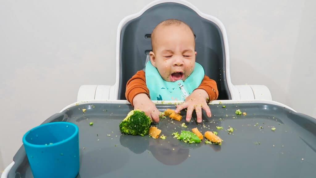 a 6 month old baby gags while starting solids