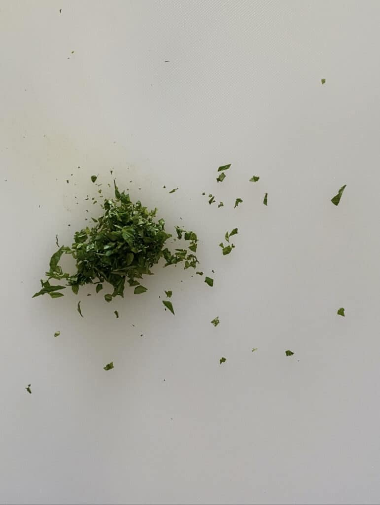 Chopped mint before being served to babies starting solids