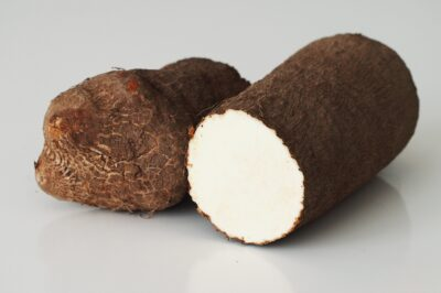 a true yam cut in half before being prepared for babies starting solid food