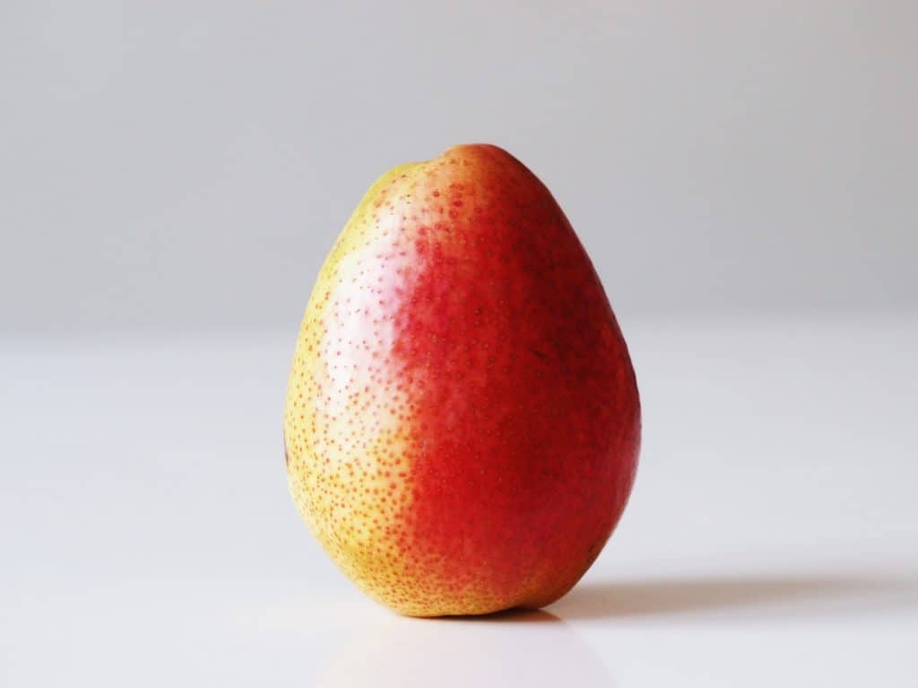 a whole pear before being prepared for babies starting solid food