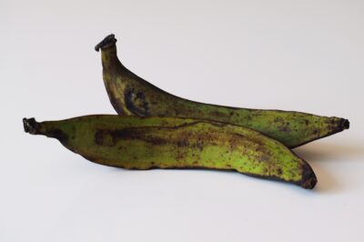 2 green plantains before being prepared for babies starting solid food