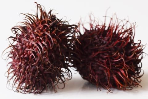 Two rambutan on a white table before being prepared for babies starting solid food