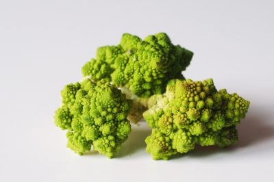 Romanesco florets on a table before being prepared for babies starting solid food