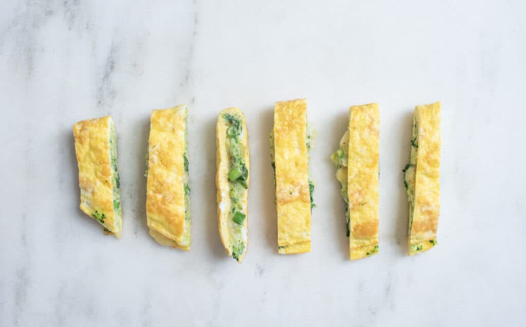 strips of spinach and goat cheese omelet