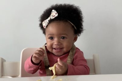 Baby Sevigne, 9 months, eats egg noodles for a baby model search