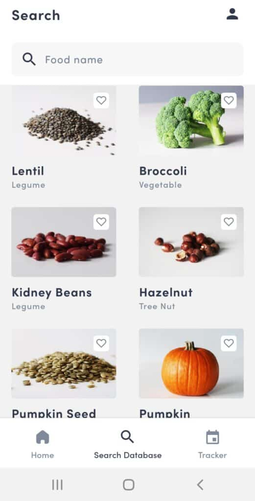 App search for foods