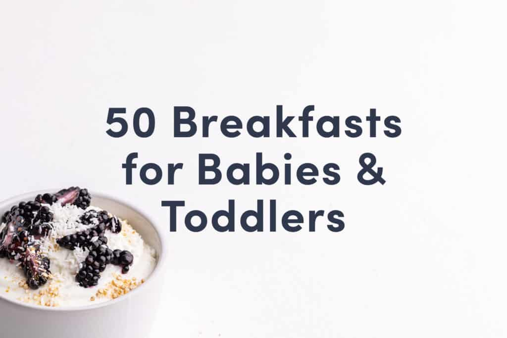 """A Solid Starts guide cover that reads """"50 Breakfasts for Babies & Toddlers"""" and shows a bowl of yogurt with blackberries"""