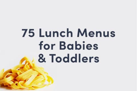 Guide cover that reads 75 Lunch Menus for Babies and Toddlers