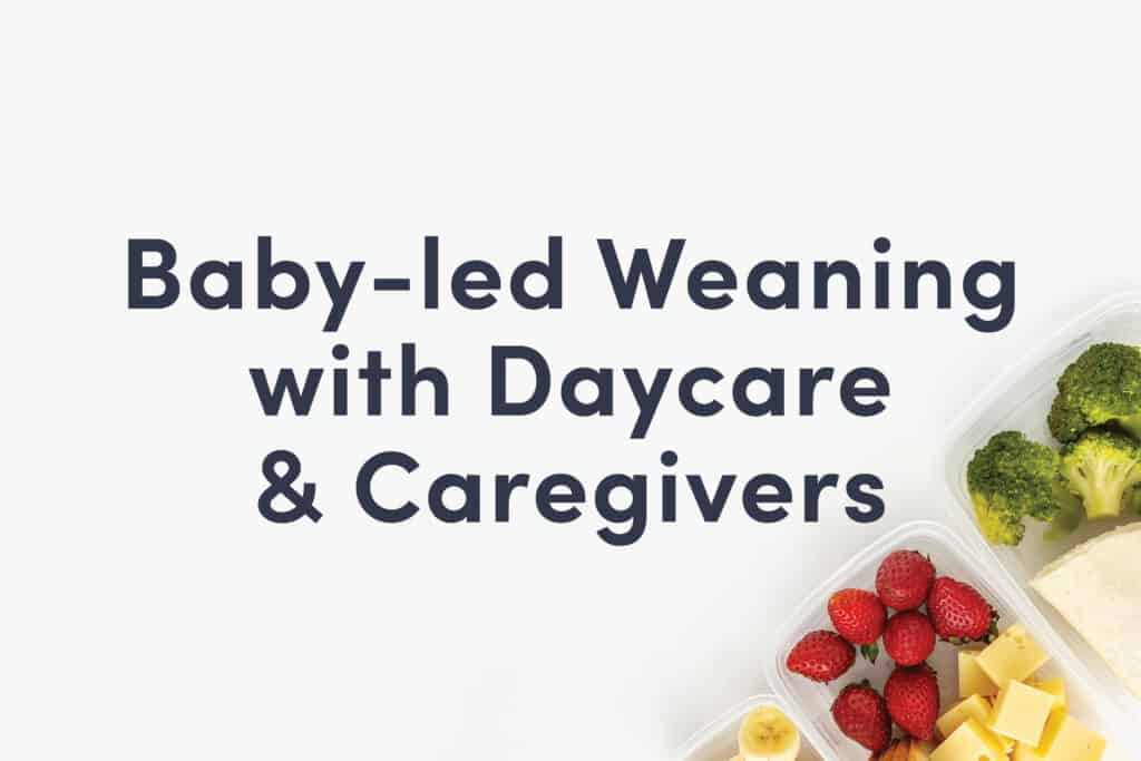 """A guide cover that reads """"Baby-led Weaning with Daycare & Caregivers"""" and shows some cheese and berries in a lunch box"""