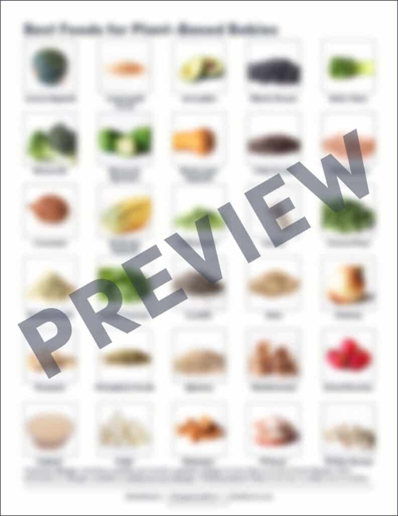 a blurred preview of 30 food pictures for the Solid Starts Plant Based Guide