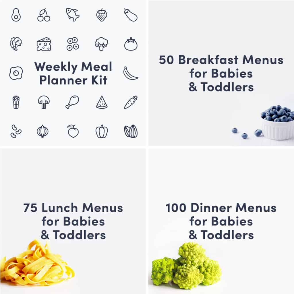 Bundle Cover featuring the Weekly Meal Planner Guide, The 50 Breakfast Menus Guide, the 75 Lunch Menus Guide, and the 100 Dinner Menus Guide