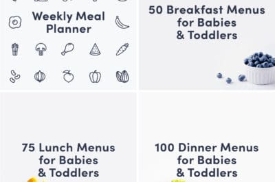 A grid cover showing a weekly meal planner, a guide for 50 breakfast menus for babies and toddlers, a guide for 75 lunch menus for babies and toddlers and a guide for 100 dinner menus for babies and toddlers