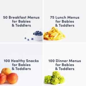 a grid of 4 guides: 50 breakfast menus for babies and toddlers, 75 Lunch menus for babies and toddlers, 100 dinner menus for babies and toddlers and 100 snack ideas for babies and toddlers