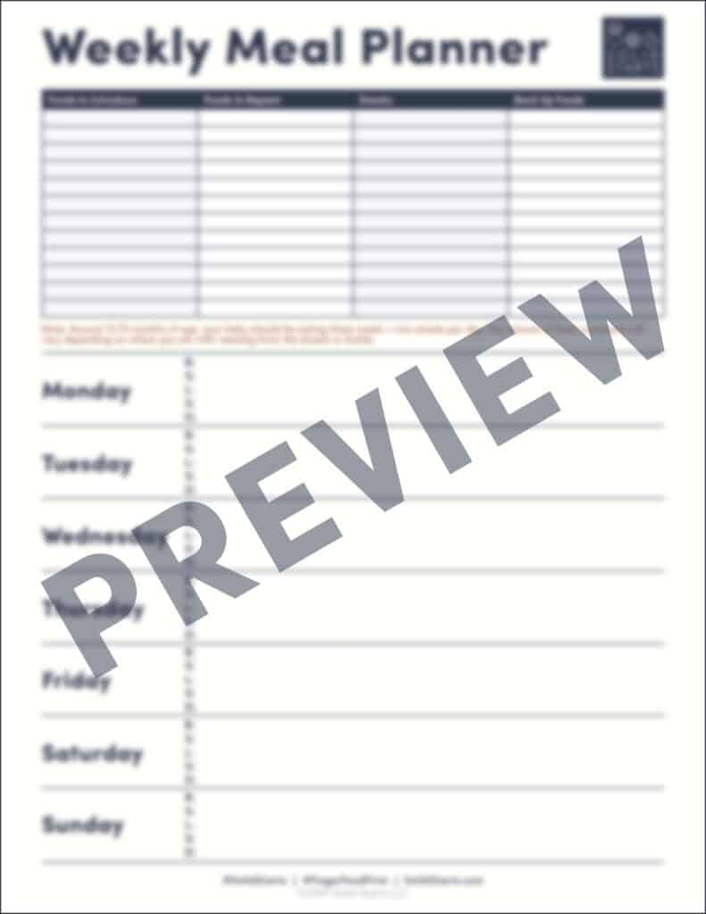 a blank template for meal planning