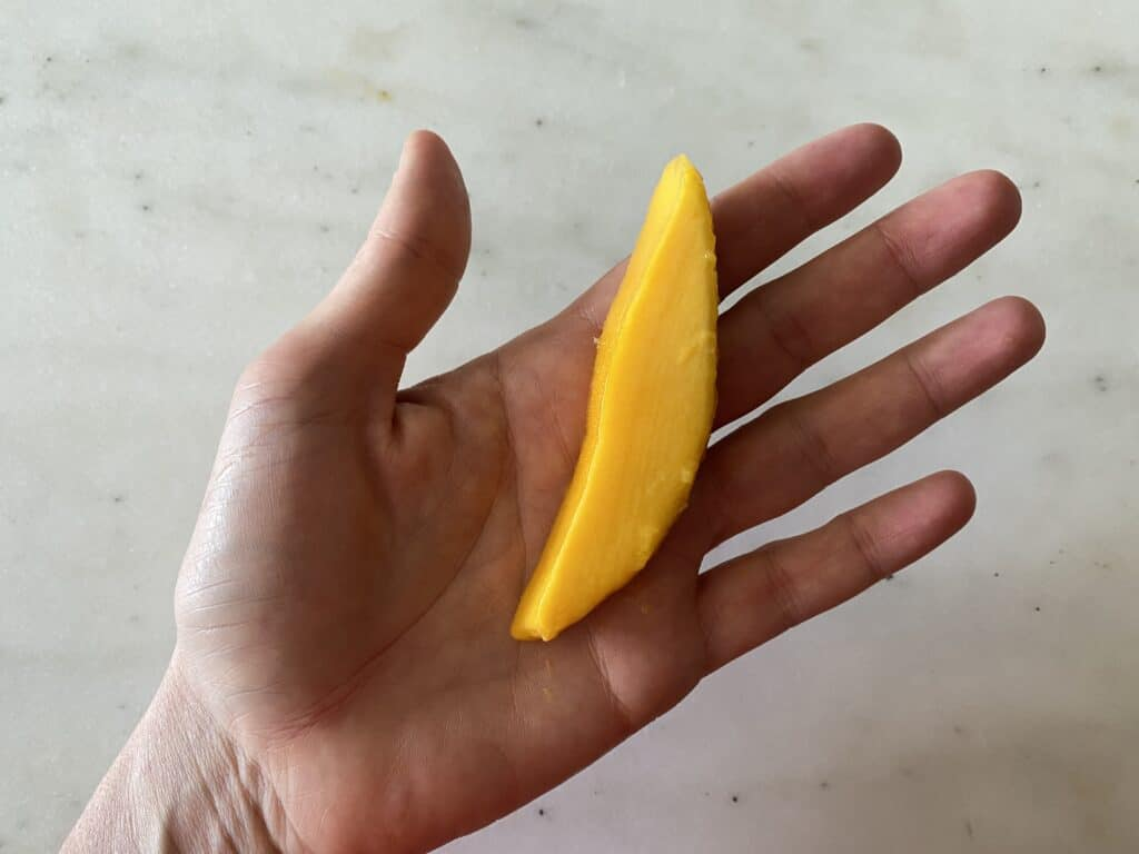 hand holding a mango spear