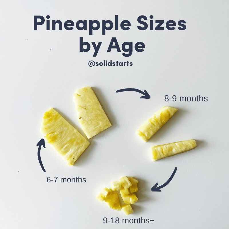 How to serve pineapple for 6-8, 8-9, and 9-24 month olds